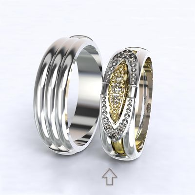 Women's Wedding Band Bonnie & Clyde white gold 14kt with diamonds
