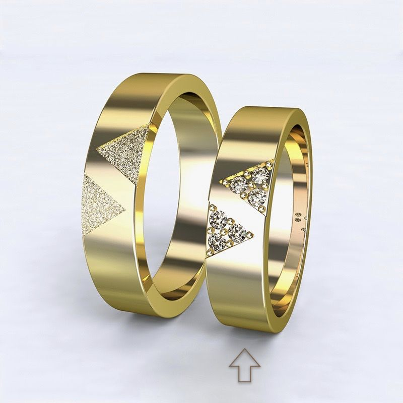 Women's Wedding Band Agapé yellow gold 14kt with diamonds