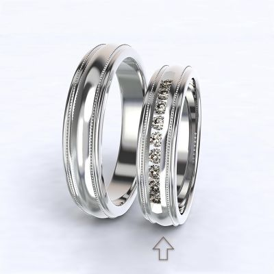 Women's Wedding Band Avignon white gold 14kt with diamonds