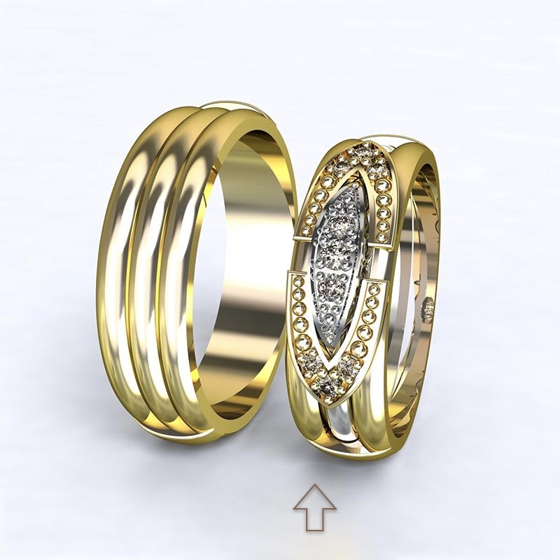 Women's Wedding Band Bonnie & Clyde yellow gold 14kt with diamonds