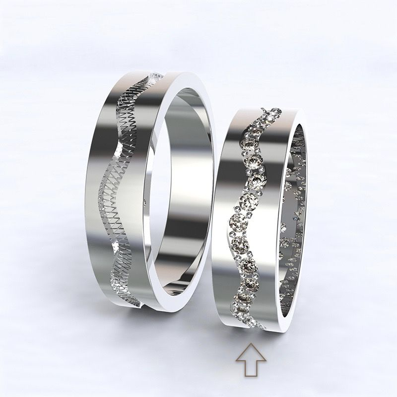Women's Wedding Band Cannes white gold 14kt with diamonds