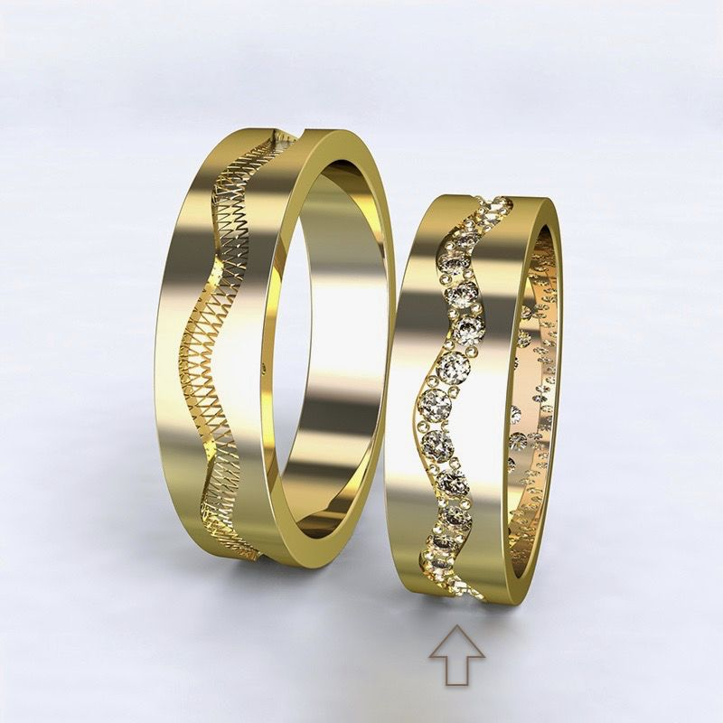 Women's Wedding Band Cannes yellow gold 14kt with diamonds