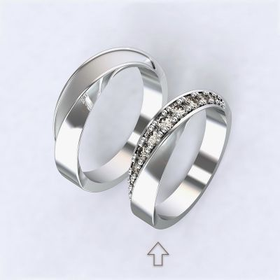 Women's Wedding Band Chiara with diamonds, white gold 14kt | 45, 46, 47, 48, 49, 50, 51, 52, 53, 54, 55, 56, 57, 58, 59, 60, 61, 62, 63, 64, 65, 66, 67, 68, 69, 70, 71, 72, 73