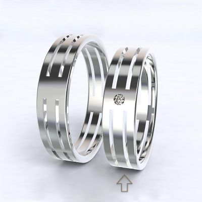Women's Wedding Band Elegance white gold 14kt with diamond