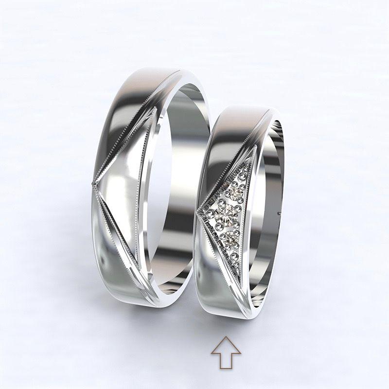 Women's Wedding Band Fantasia white gold 14kt with diamonds