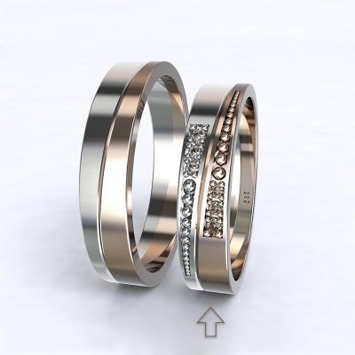 Women's Wedding Band Marsellie white/rose gold 14kt with diamonds | 45, 46, 47, 48, 49, 50, 51, 52, 53, 54, 55, 56, 57, 58, 59, 60, 61, 62, 63, 64, 65, 66, 67, 68, 69, 70, 71, 72, 73
