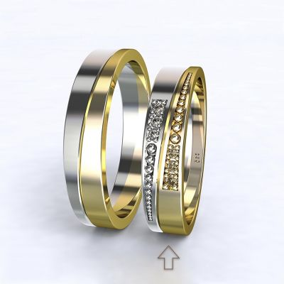 Women's Wedding Band Marsellie white/yellow gold 14kt with diamonds | 45, 46, 47, 48, 49, 50, 51, 52, 53, 54, 55, 56, 57, 58, 59, 60, 61, 62, 63, 64, 65, 66, 67, 68, 69, 70, 71, 72, 73