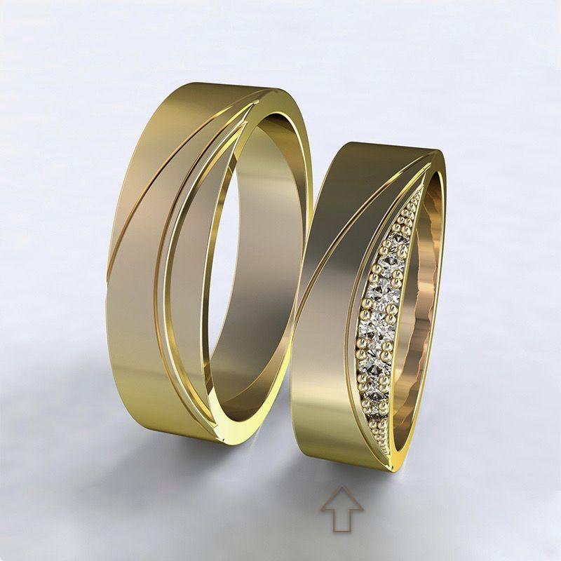 Women's Wedding Band Moon Light yellow gold 14kt with diamonds