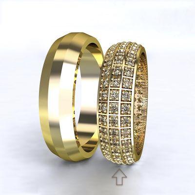 Women's Wedding Band Paris yellow gold 14kt with diamonds