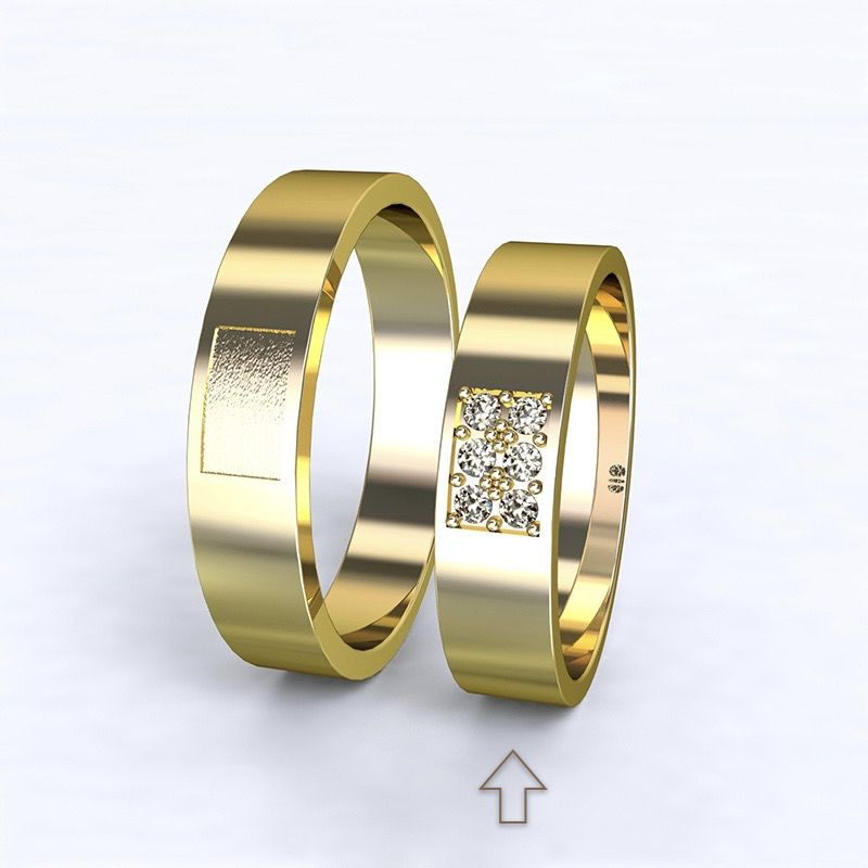 Women's Wedding Band Purity yellow gold 14kt with diamonds