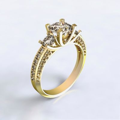 Ring Nikea - yellow gold 14kt with diamonds
