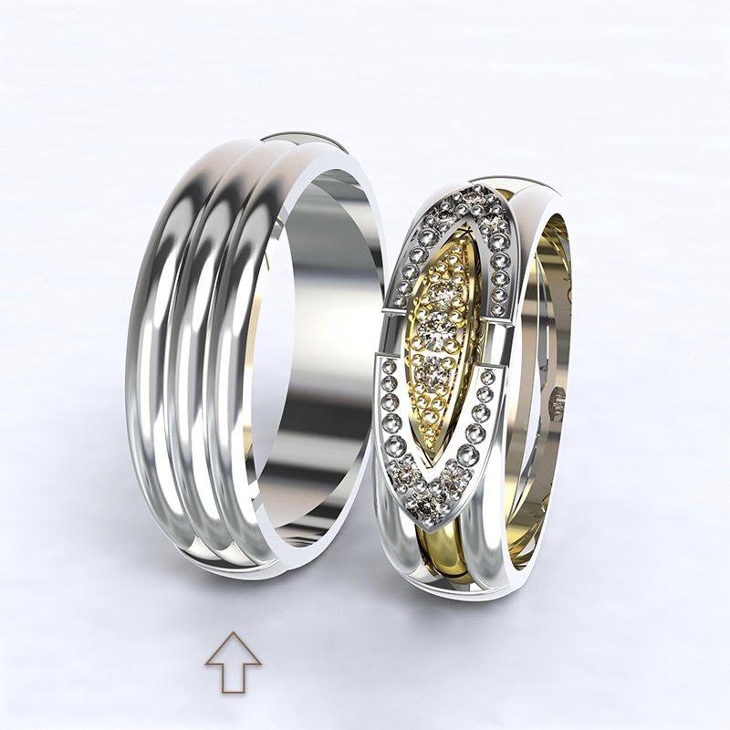 Men's Wedding Band Bonnie & Clyde white gold 14kt