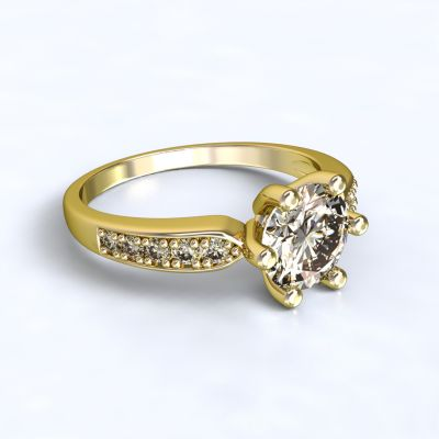 Ring Dorkas yellow gold 14kt with diamonds