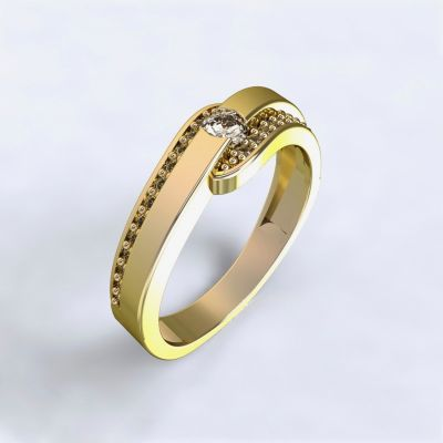 Ring Erika - yellow gold 14ktwith diamonds | 45, 46, 47, 48, 49, 50, 51, 52, 53, 54, 55, 56, 57, 58, 59, 60, 61, 62, 63, 64, 65, 66, 67, 68, 69, 70, 71, 72, 73