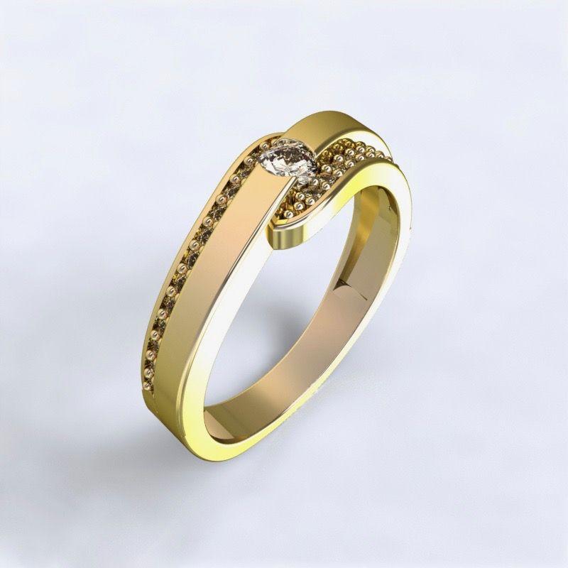 Ring Erika - yellow gold 14ktwith diamonds