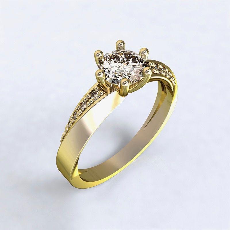 kopie Ring Moon Light-e - yellow gold with diamonds14kt