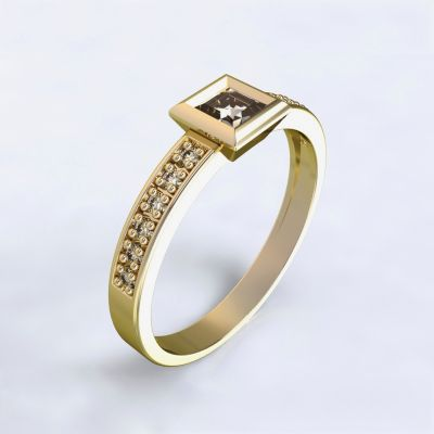 Engagement ring Perama - yellow gold 14kt with diamonds