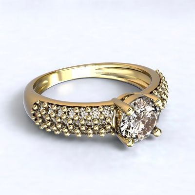 Ring Trikala - yellow gold 14kt with diamonds