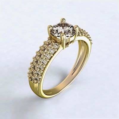 Ring Trikala - yellow gold 14kt with diamonds