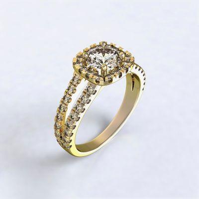 Ring Zara - yellow gold 14kt with diamonds