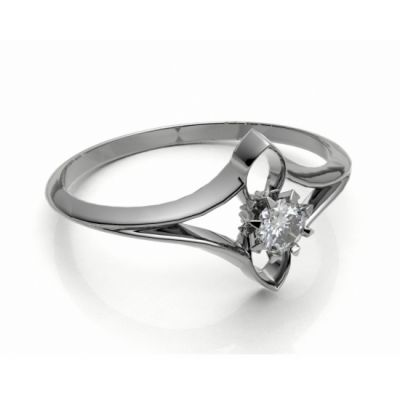 Engagement Ring white gold 14kt with diamond